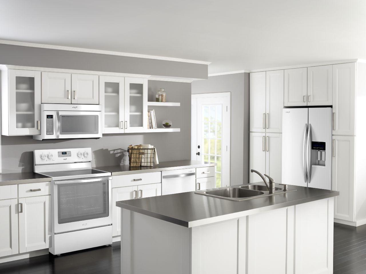 kitchen cabinet ideas with white appliances photo - 3