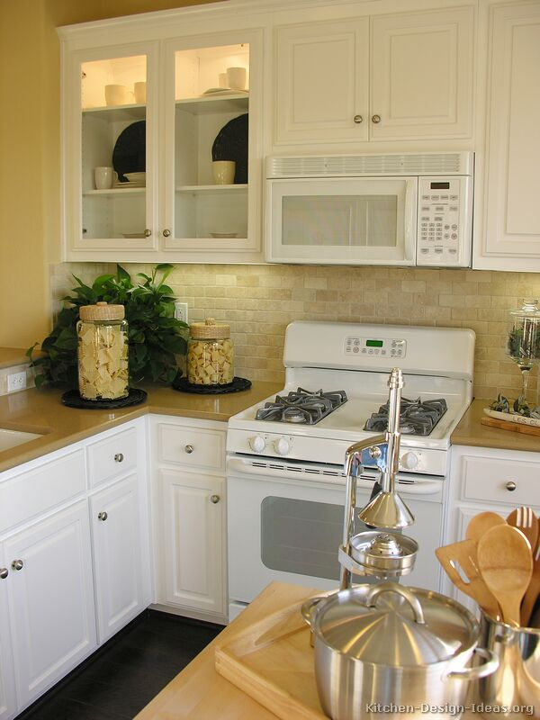 kitchen cabinet ideas with white appliances photo - 4
