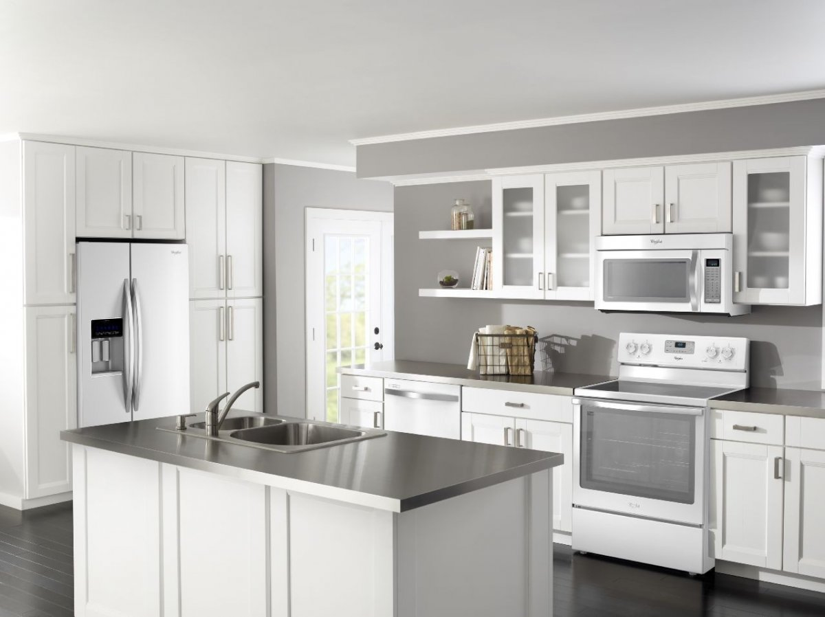 kitchen cabinet ideas with white appliances photo - 5