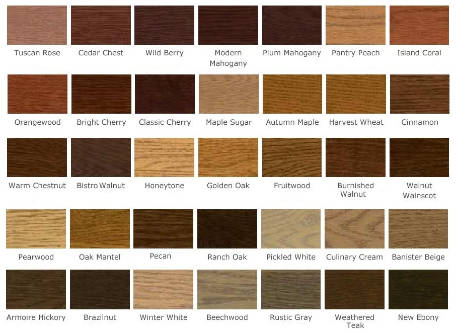 Kitchen Cabinet Stain Color Chart Hawk Haven