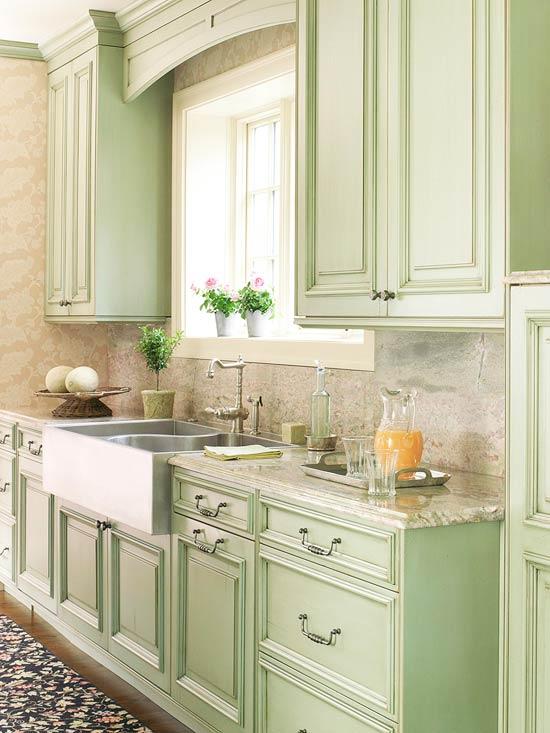 kitchen design ideas green cabinets photo - 1
