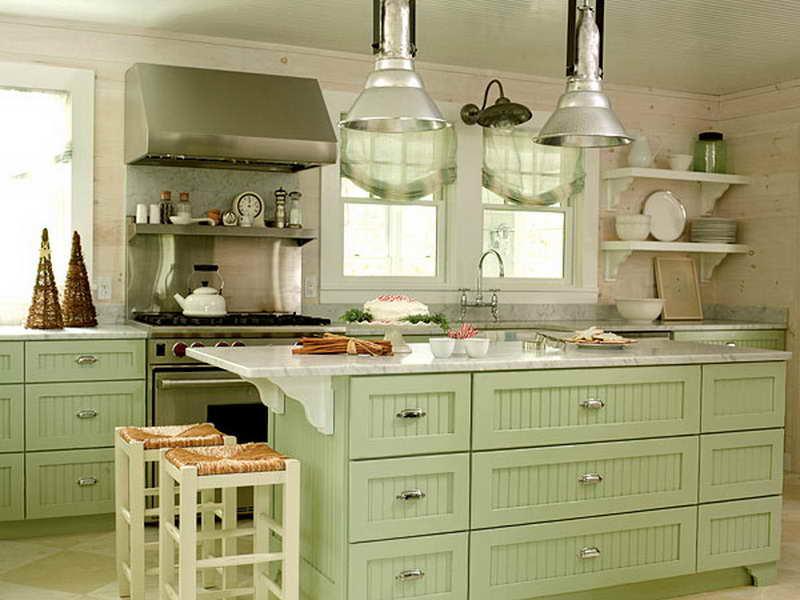 kitchen design ideas green cabinets photo - 3