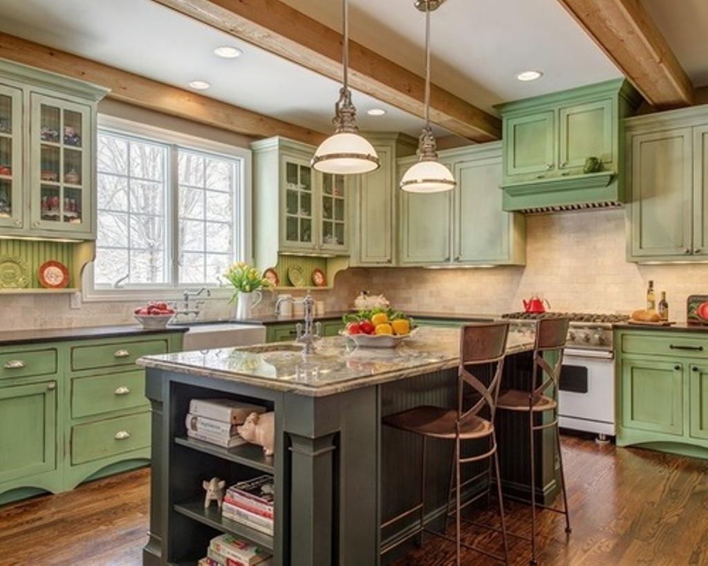 kitchen design ideas green cabinets photo - 4