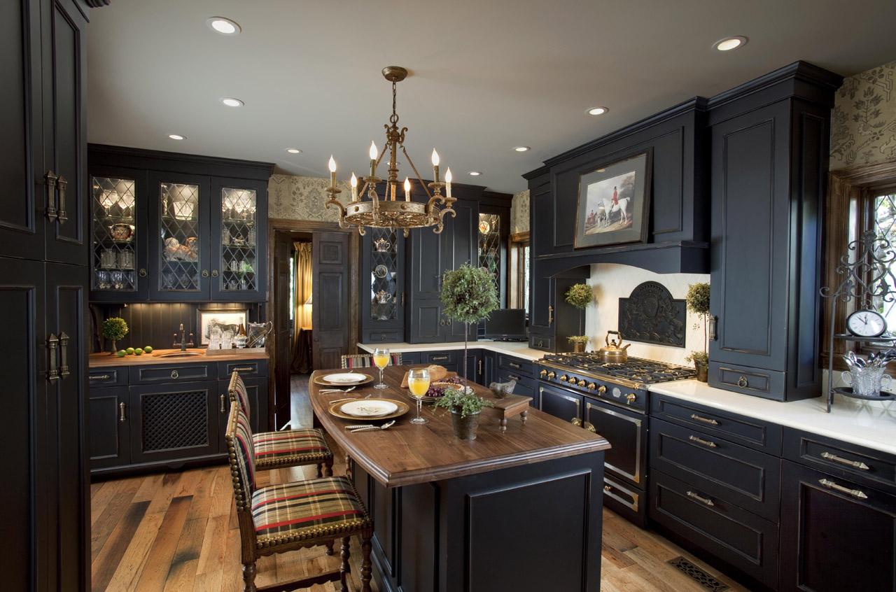 kitchen design ideas with black cabinets photo - 10