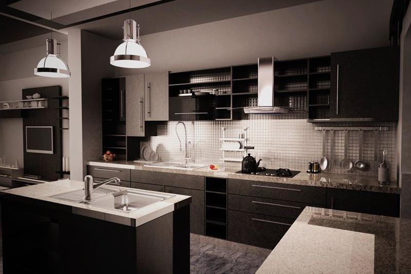 kitchen design ideas with black cabinets photo - 6