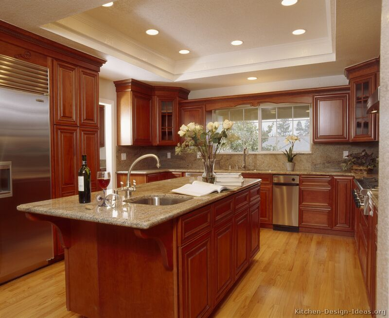 kitchen design ideas with cherry cabinets photo - 3