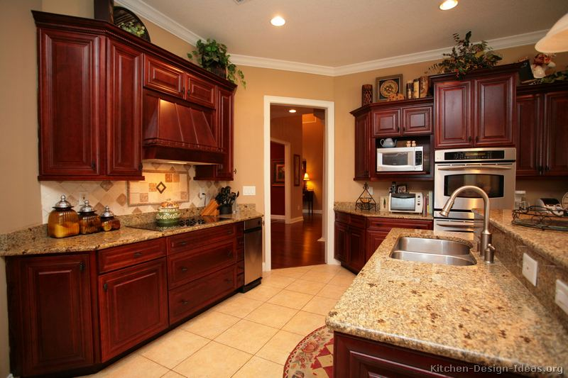 kitchen design ideas with cherry cabinets photo - 4