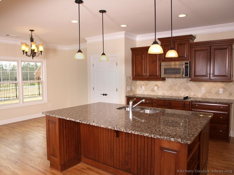kitchen design ideas with cherry cabinets photo - 8