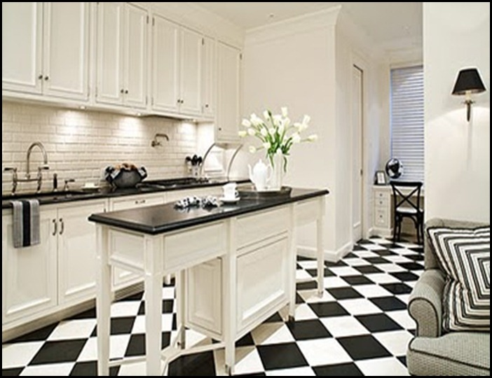 Captivating Kitchen Floor Tile Black And White Photo   4