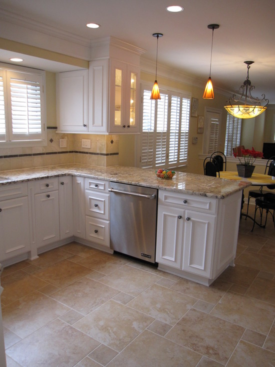 Kitchen floor tile ideas with white cabinets | Hawk Haven