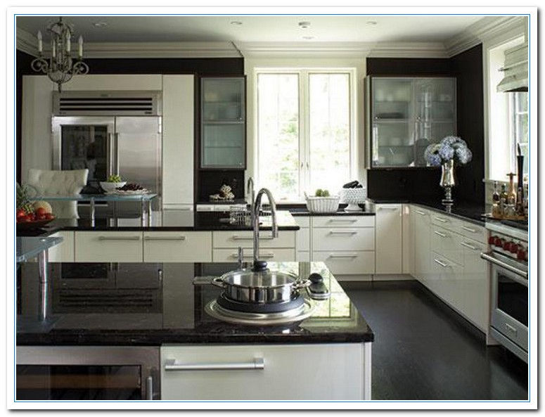 kitchen ideas white cabinets black countertop photo - 10
