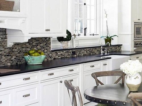 kitchen ideas white cabinets black countertop photo - 6