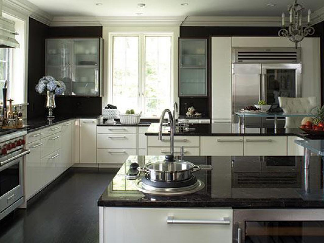 kitchen ideas white cabinets black countertop photo - 9