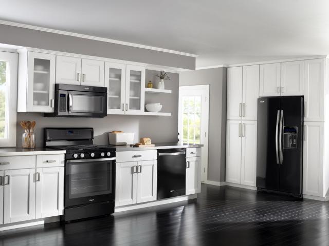 kitchen white cabinets black appliances hawk haven