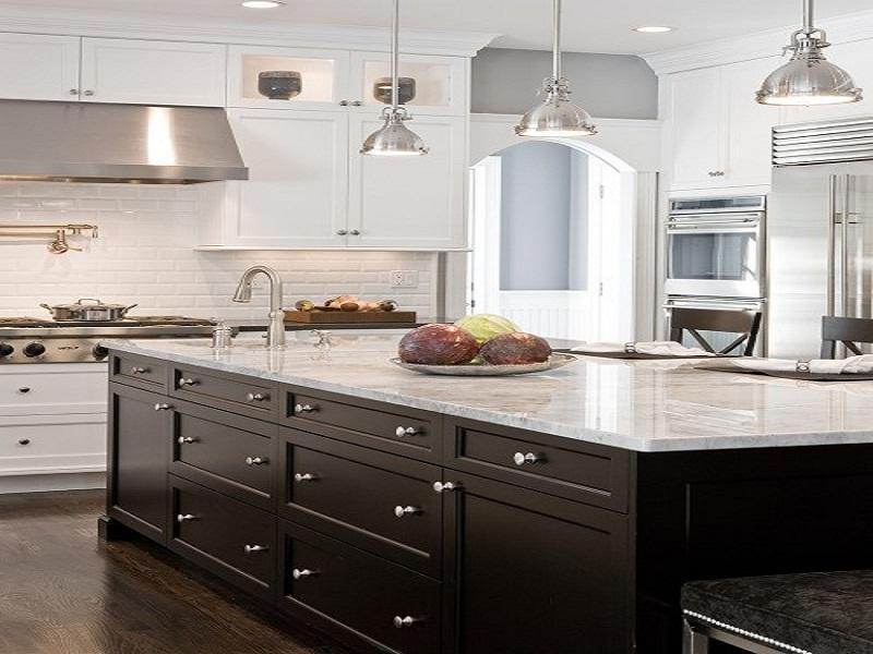 Kitchen white cabinets black appliances | Hawk Haven