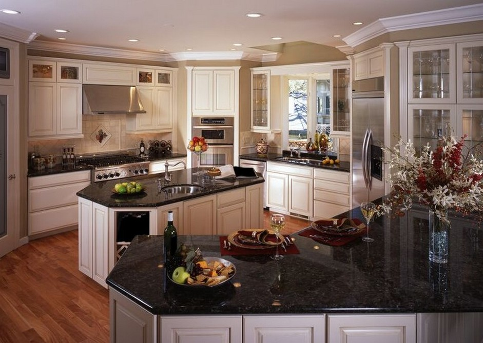 kitchen white cabinets black countertops photo - 10