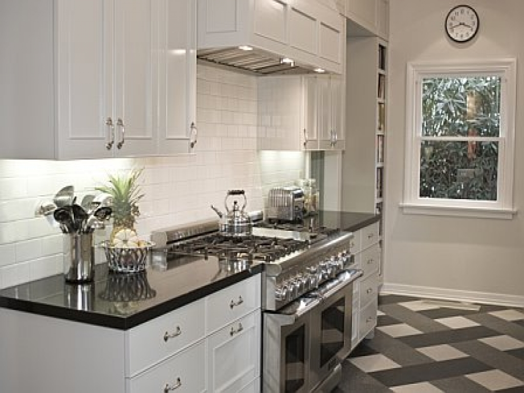 kitchen white cabinets black countertops photo - 2