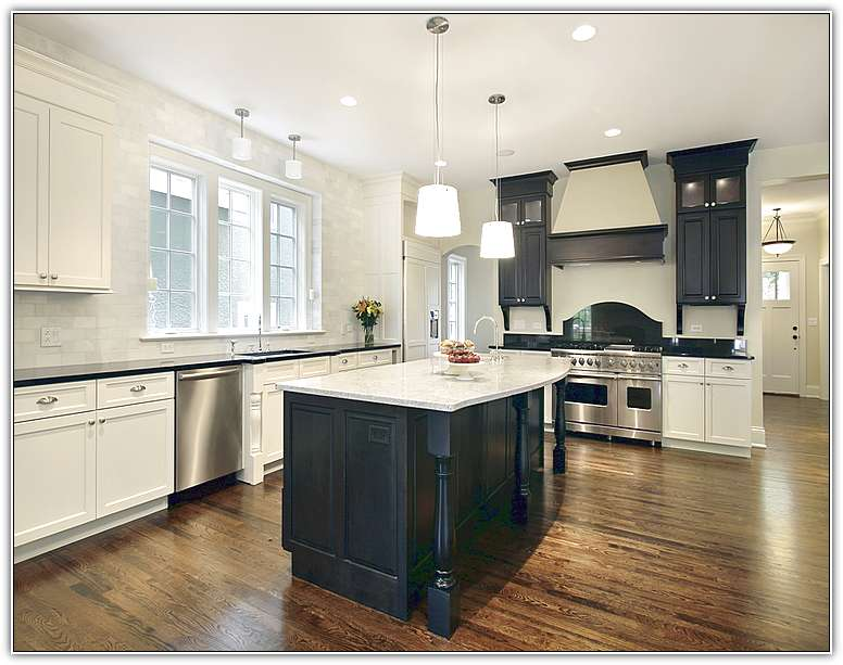kitchen white cabinets black island photo - 10