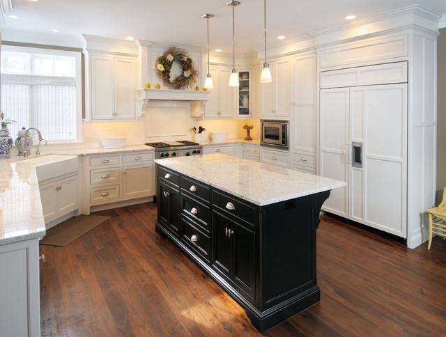 kitchen white cabinets black island photo - 3