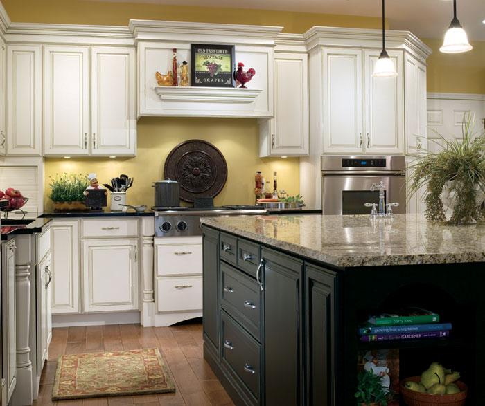 kitchen white cabinets black island photo - 4