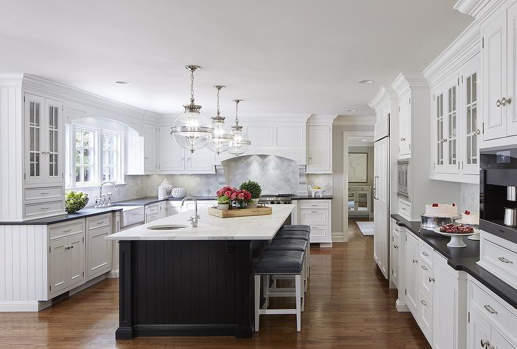 kitchen white cabinets black island photo - 5