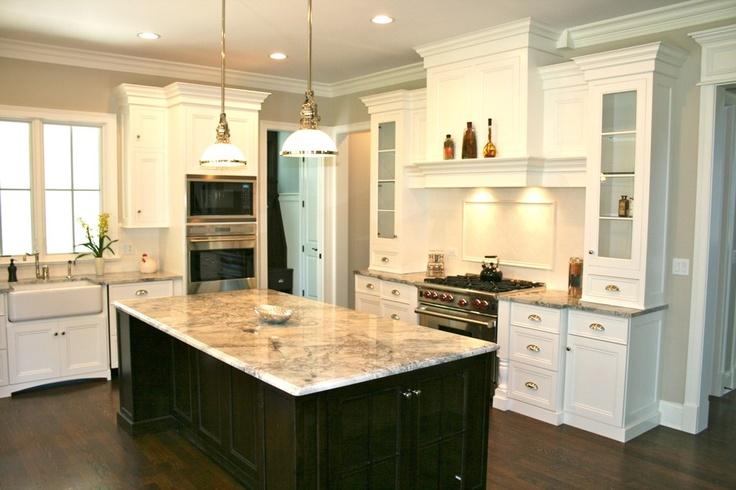 kitchen white cabinets black island photo - 8