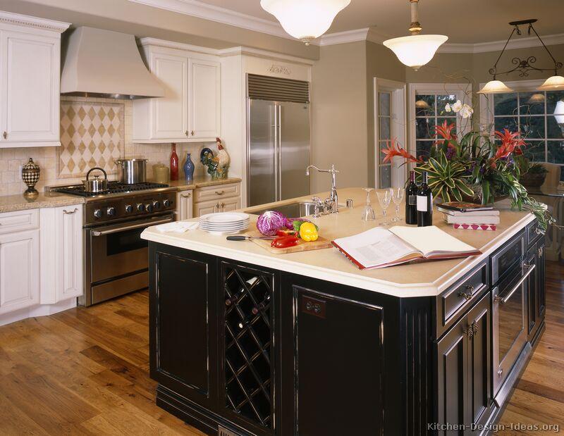 kitchen white cabinets black island photo - 9