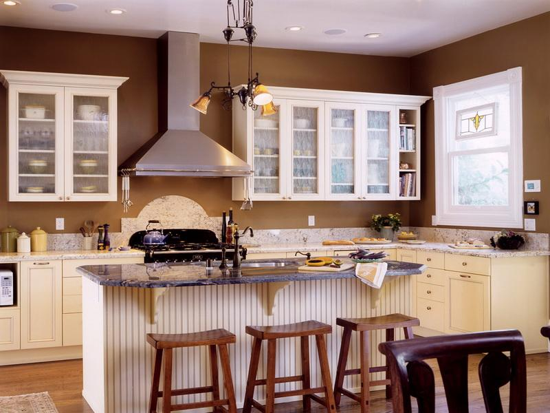 kitchen white cabinets brown walls photo - 10