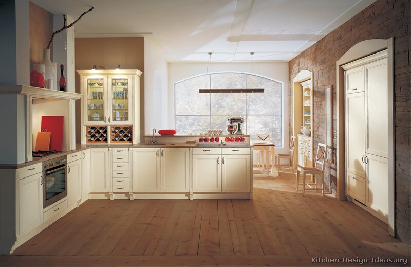 kitchen white cabinets brown walls photo - 3