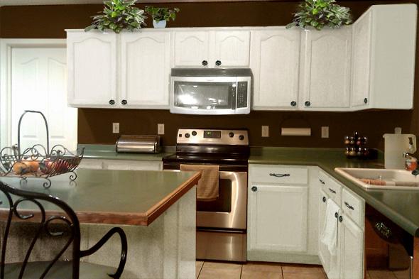 kitchen white cabinets brown walls photo - 4