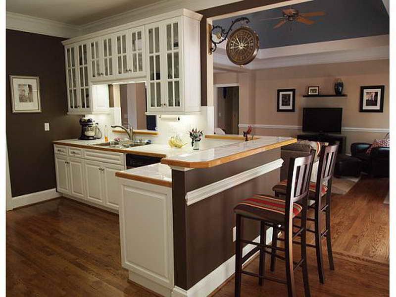 kitchen white cabinets brown walls photo - 5