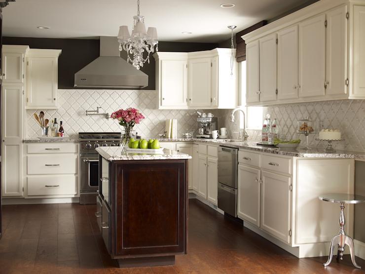 kitchen white cabinets brown walls photo - 6