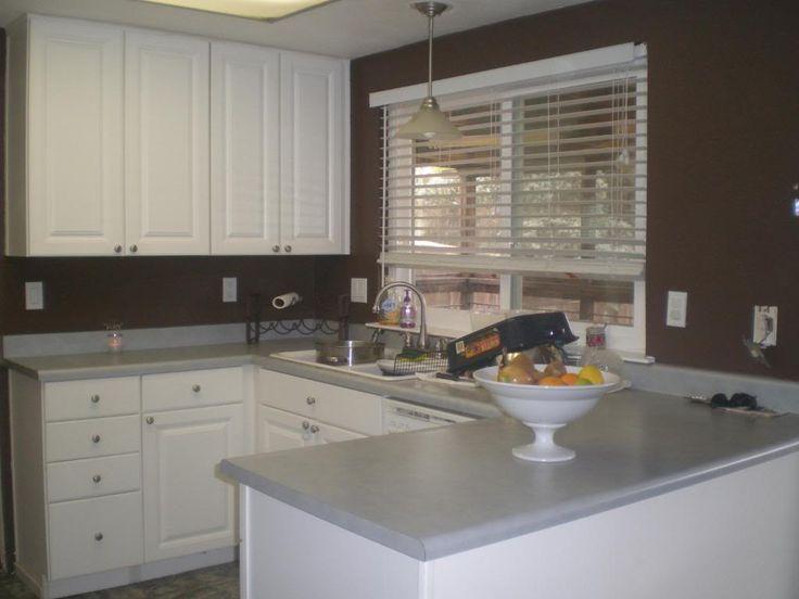 kitchen white cabinets brown walls photo - 8