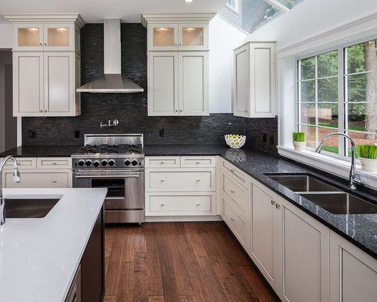 Kitchen white cabinets dark backsplash | Hawk Haven