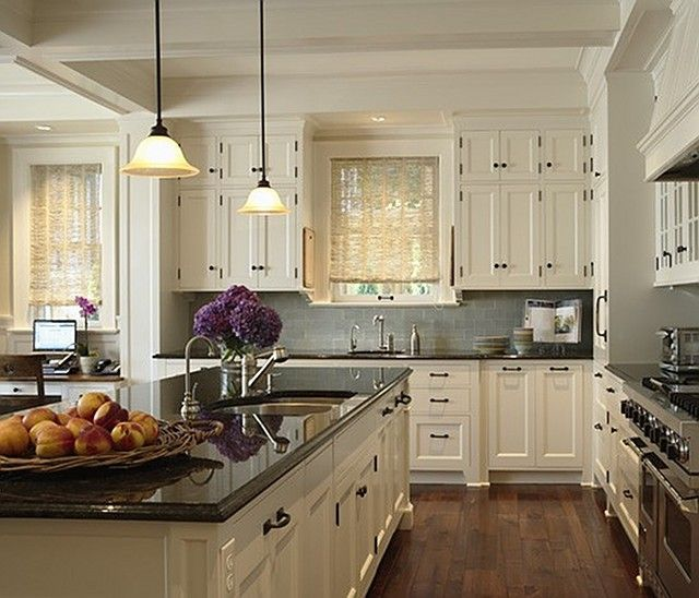 kitchen white cabinets dark countertops photo - 4