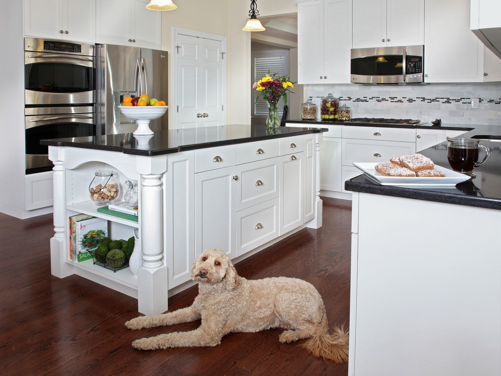 kitchen white cabinets dark countertops photo - 7