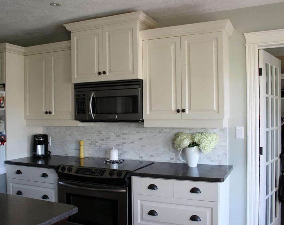 kitchen white cabinets dark countertops photo - 8