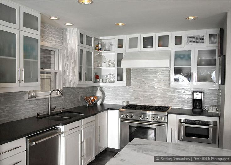 kitchen white cabinets dark countertops photo - 9