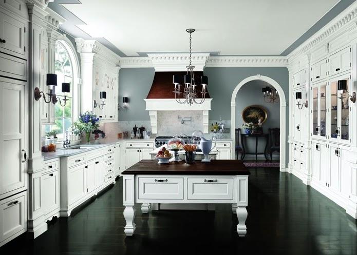 Kitchen white cabinets dark floors | Hawk Haven