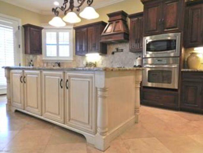 Kitchen white cabinets dark island | Hawk Haven