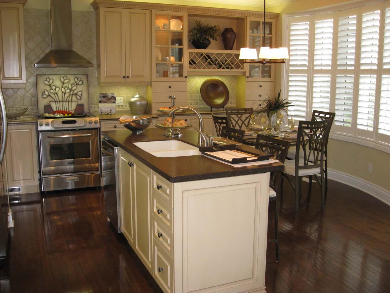 kitchen white cabinets dark wood floors photo - 10