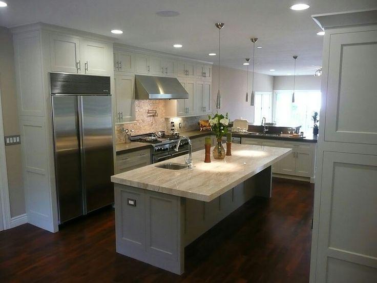 kitchen white cabinets dark wood floors photo - 3
