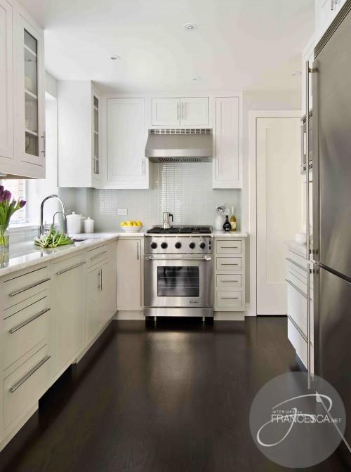 kitchen white cabinets dark wood floors photo - 4