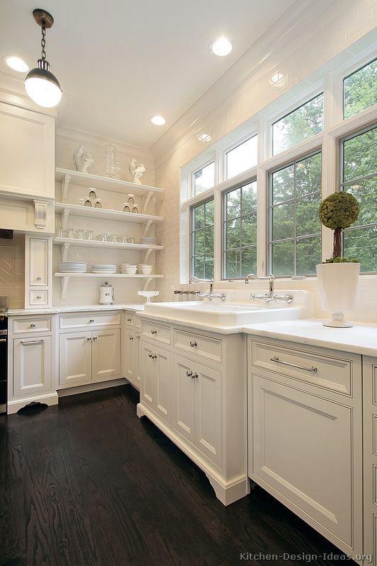 kitchen white cabinets dark wood floors photo - 5