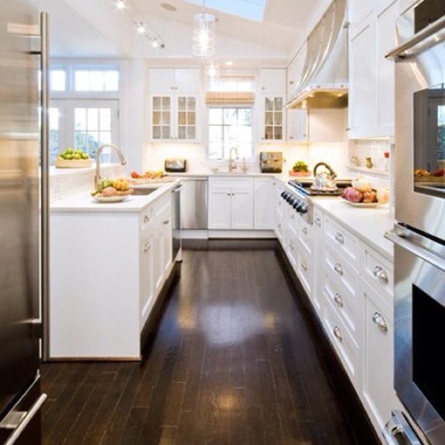 kitchen white cabinets dark wood floors photo - 6