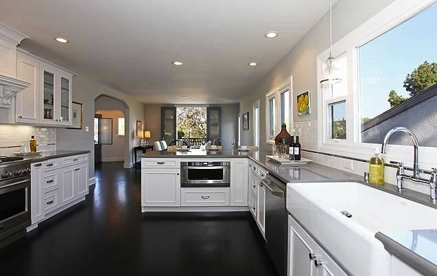 Kitchen white cabinets dark wood floors | Hawk Haven