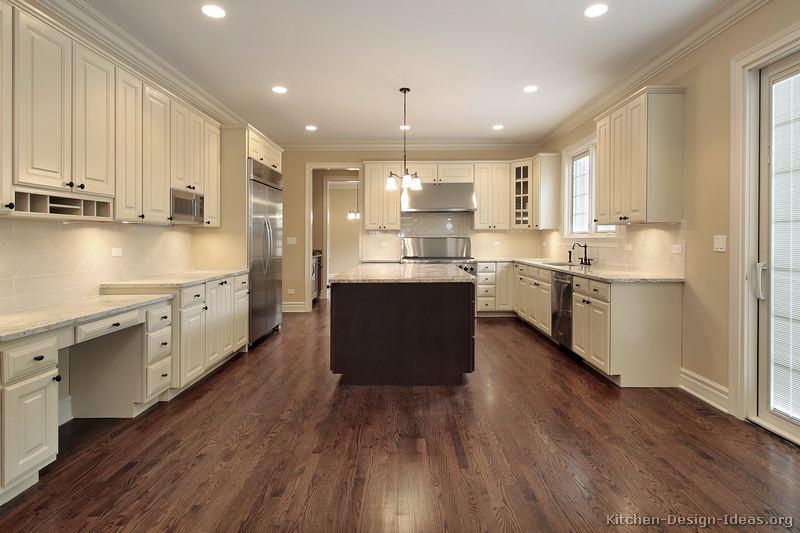 kitchen white cabinets dark wood floors photo - 8