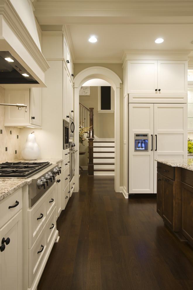 kitchen white cabinets dark wood floors photo - 9