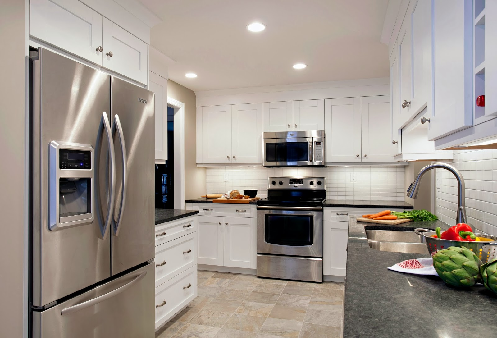 Kitchen White Cabinets Grey Countertop Photo 2