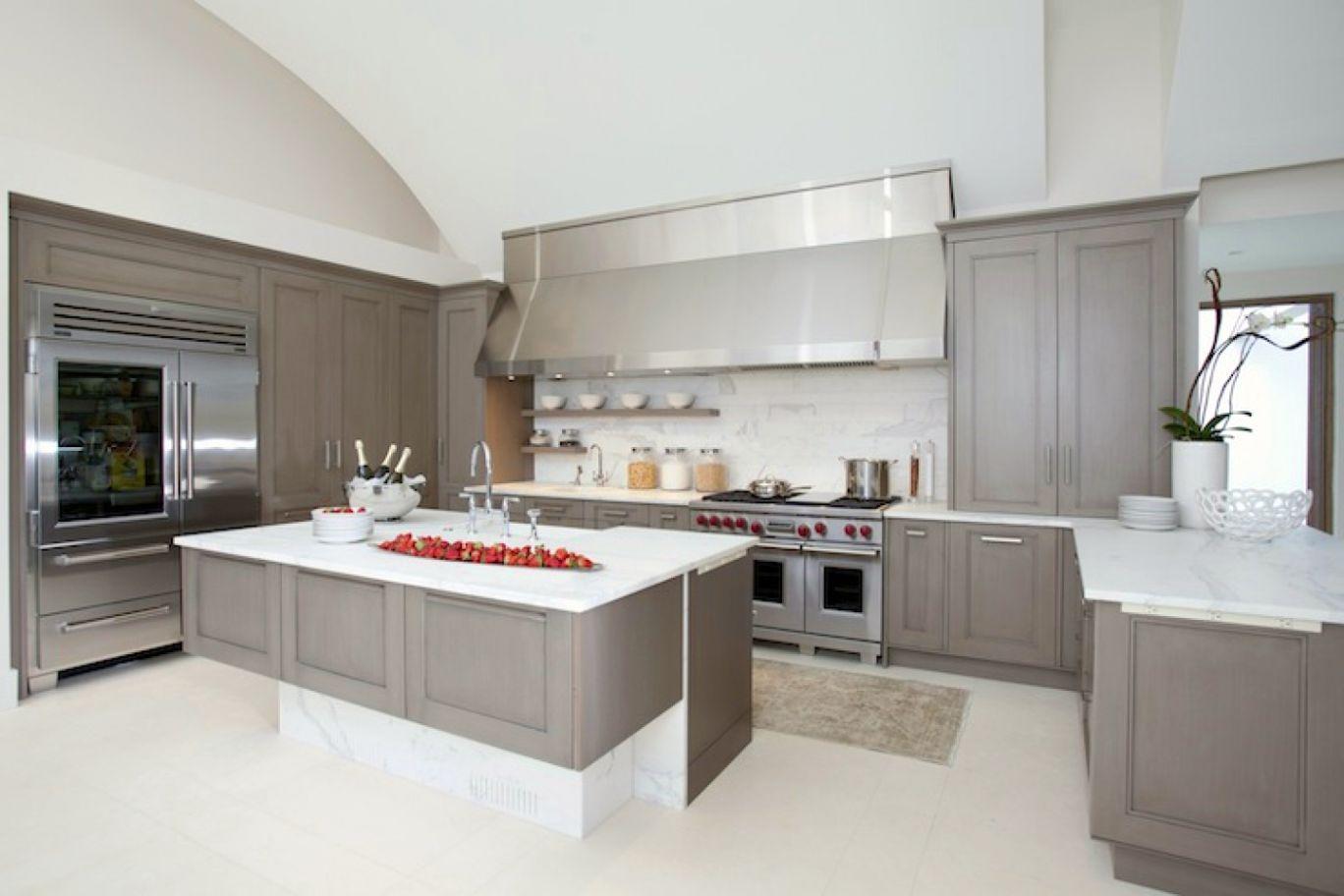 Kitchen White Cabinets Grey Countertop Photo 9